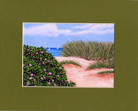 CAPE COD Sailboats Dune Beach Roses Matted Print Ocean, Renee Rutana
