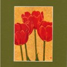 TULIPS Flowers Spring, Reds & Gold Botanical Matted Print, Renee Rutana