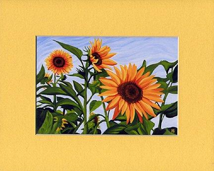 SUNFLOWERS Spring, Yellows, Greens & Blue Botanical Matted Print, Renee Rutana