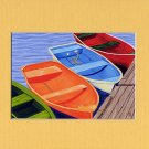 CAPE COD Orange Rowboats Matted Print, Skiffs, Seascape, Renee Rutana