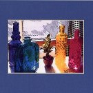 COLORED GLASS BOTTLES IN THE WINDOW Blue, Green, Yellow & White Matted Photo Print, Renee Rutana