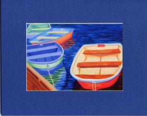 CAPE COD Bright Colored Rowboats Matted Print, Skiffs, Seascape, Renee Rutana