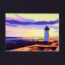 Portsmouth, New Hampshire, Newcastle Sunset, Lighthouse, Matted Print