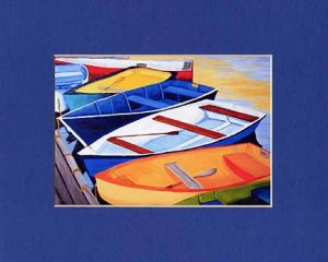 CAPE COD Rowboats Orange, Blues Greens Matted Print Dinghy, Renee Rutana