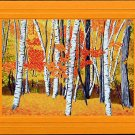VERMONT BIRCH TREES Autumn, Yellows, Reds and Orange Seasonal Blank Greeting Card, Renee Rutana