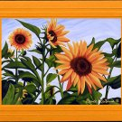 SUNFLOWERS Spring, Yellows, Greens and Blue Botanical Blank Greeting Card, Renee Rutana