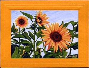 SUNFLOWERS Spring, Yellows, Greens and Blue Botanical Blank Greeting Card, Renee Rutana