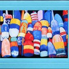 ROCKPORT LOBSTER BUOYS Reds, Yellows, Greens and Blue Nautiical Blank Greeting Card, Renee Rutana