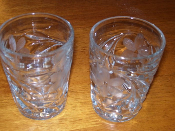 Two Glass cut cocktail glasses
