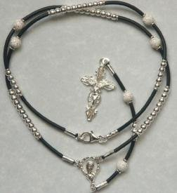 Sterling corded rosary necklace