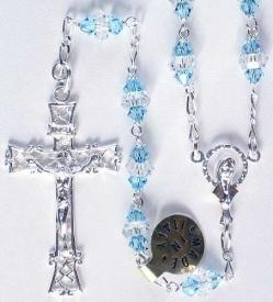 Aquamarine Swarovski Crystal Sterling Silver Rosary