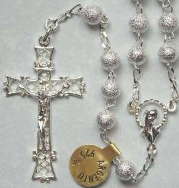 Solid Sterling textured bead rosary