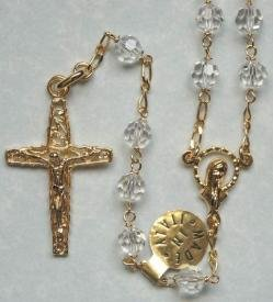 Gold over sterling silver rosary with clear Swarovski crystal beads