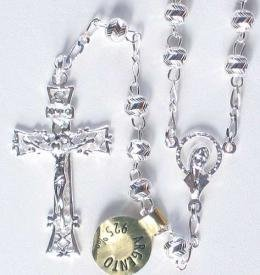 Diamond Cut Solid Sterling silver rosary