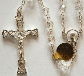 Sterling silver rosary with clear Swarovski beads
