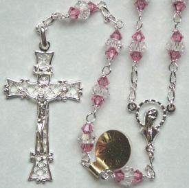 Sterling silver rosarie with rose and clear Swarovski crystal beads