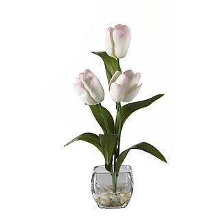 Tulips Liquid Illusion Silk Arrangement (White pink)