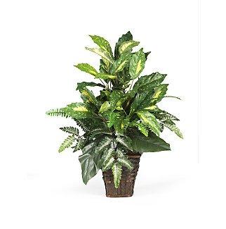 Mixed Greens w/Wicker Silk Plant