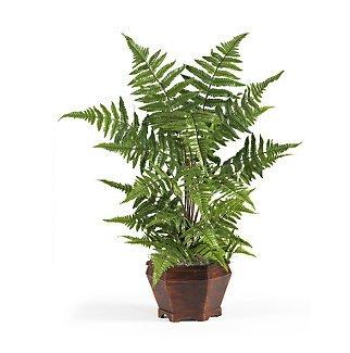 Forest Fern w/Wood Vase Silk Plant