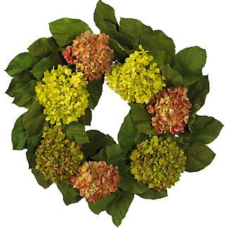 """24"""" Hydrangea Wreath w/Leaves"""