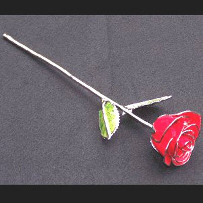 """11"""" Silver/Red Rose"""