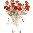 12 Silver/Red Roses