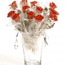 25 Silver/Red Roses