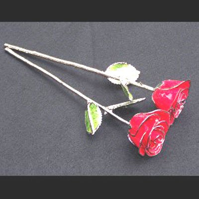 Anniversary Silver/Red Roses w/ Vase