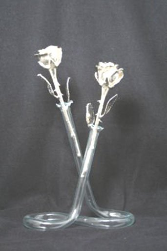 "Two 8 "" All Silver Roses with Vase"
