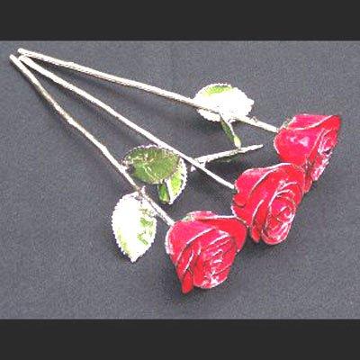 Trio of Platinum/Red Roses