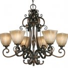 Meridian Golden Bronze 6 Light Chandelier