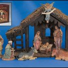 Nativity Set with Wood Stable
