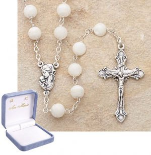 Genuine Mother of Pearl Sterling Silver Rosary