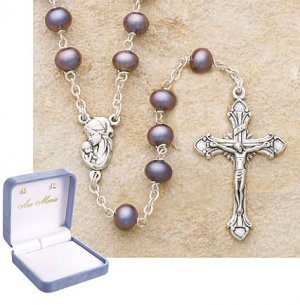 Black Genuine Pearl Sterling Silver Rosary