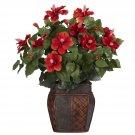Hibiscus with Vase Silk Plant