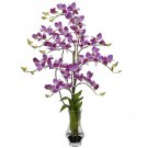 Dendrobium with Curved Vase Silk Flower Arrangement