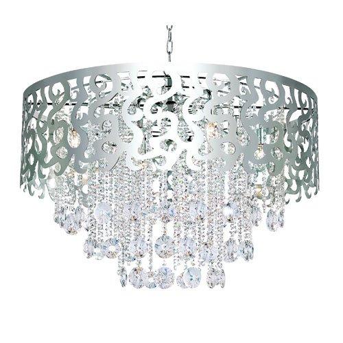 Trans Globe Lighting Modern Polished Chrome Eight-Light Crystal Pendant