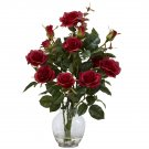 Rose Bush Silk Flower Arrangement