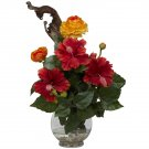 Hibiscus & Ranunculus Silk Flower Arrangement