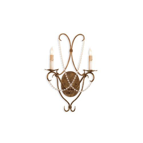 Currey and Company 2 Light Crystal Lights Wall Sconce
