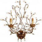 2 Light Crystal Bud Wall Sconce
