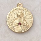 Gold Scapular Medal with Ruby