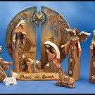 11-Piece Woodgrain Nativity Set
