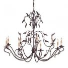 9 Light Arcadia Chandelier, Hand Rubbed