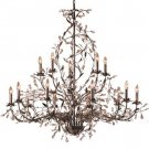 Circeo Fifteen Light Candle Chandelier in Deep Rust