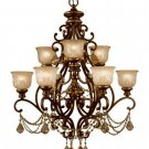 Crystorama Norwalk 9 Light Golden Teak Crystal Chandelier in Bronze Umber