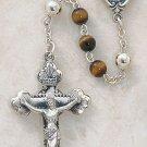 Sterling Silver Semi-Precious Tiger Eye Rosary