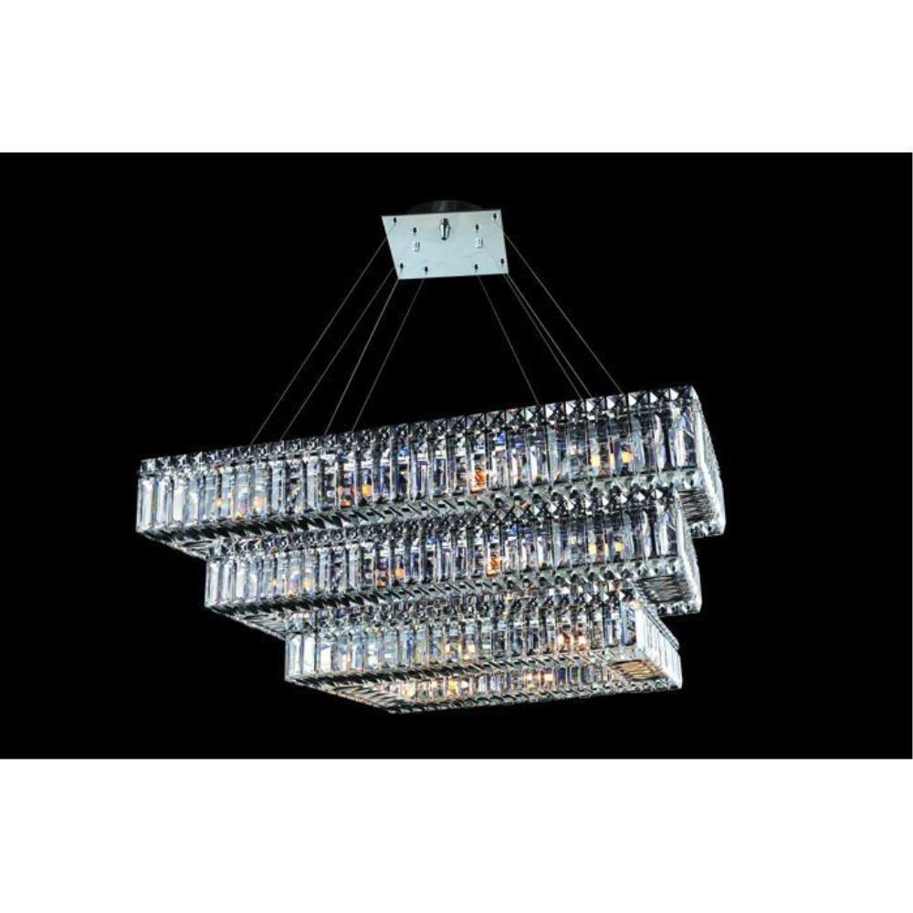 Allegri Lighting - 11777 - Quantum Baguette - Thirty Light 3-Tier Rectangle Pendant