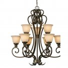 Golden Lighting - 8063-9 BUS - 2 Tier Chandelier
