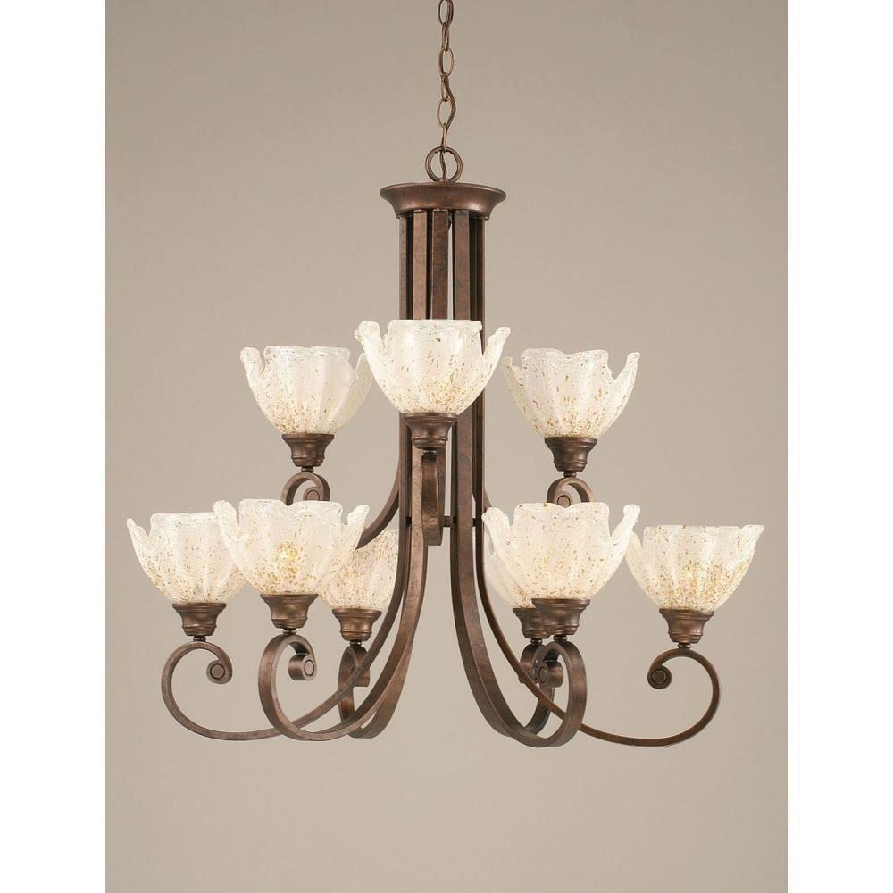 Toltec Lighting - 259-BRZ-755 - Curl - Nine Light Chandelier